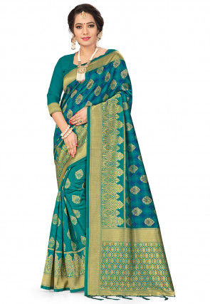Woven Art Silk Half N Half Saree in Teal Blue