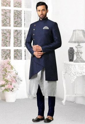 Woven Art Silk Jacket Style Sherwani in Blue and Grey