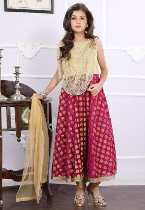 Woven Art Silk Jacquard A Line Suit in Magenta and Beige