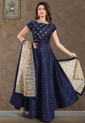 Woven Art Silk Jacquard Abaya Style Suit in Navy Blue