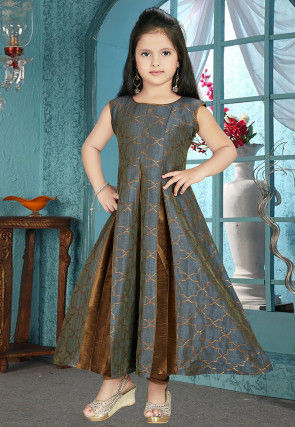 Woven Art Silk Jacquard Anarkali Suit in Grey