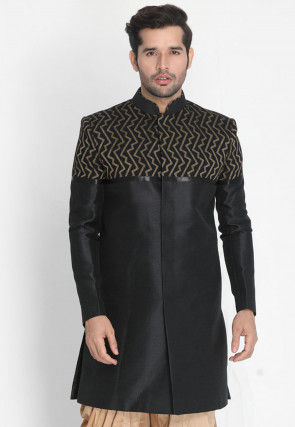 Woven Art Silk Jacquard and Art Silk Sherwani in Black