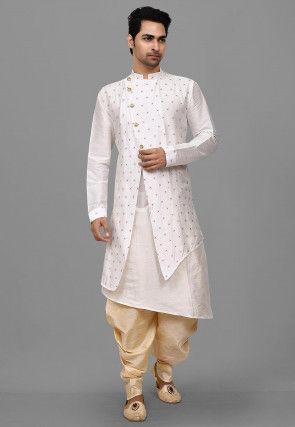 Woven Art Silk Jacquard Asymmetric Dhoti Kurta in White