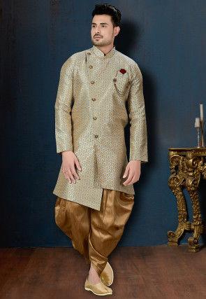 Woven Art Silk Jacquard Asymmetric Dhoti Sherwani in Beige