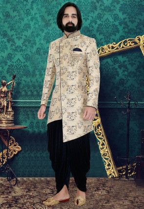Woven Art Silk Jacquard Asymmetric Dhoti Sherwani in Cream