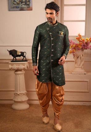Woven Art Silk Jacquard Asymmetric Dhoti Sherwani in Dark Green