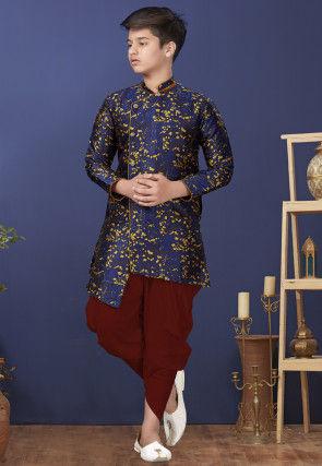 Woven Art Silk Jacquard Asymmetric Dhoti Sherwani in Navy Blue