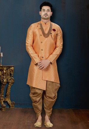 Woven Art Silk Jacquard Asymmetric Dhoti Sherwani in Orange