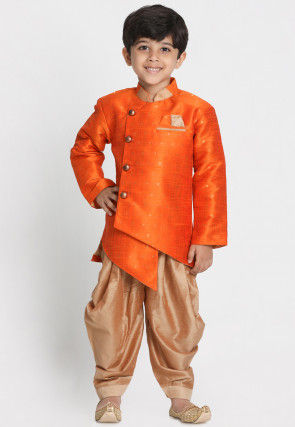 Woven Art Silk Jacquard Asymmetric Dhoti Sherwani in Orange