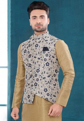 Woven Art Silk Jacquard Asymmetric Jacket in Off White