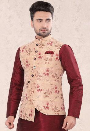 Woven Art Silk Jacquard Asymmetric Jacket in Peach
