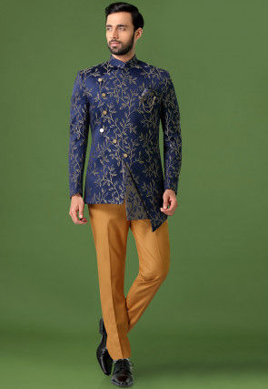 Woven Art Silk Jacquard Asymmetric Jodhpuri Suit in Navy Blue