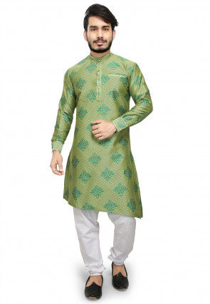 Woven Art Silk Jacquard Asymmetric Kurta Set in Green