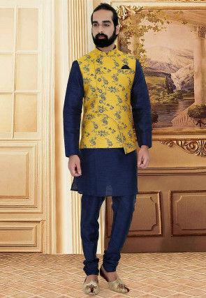 Woven Art Silk Jacquard Asymmetric Nehru Jacket in Yellow