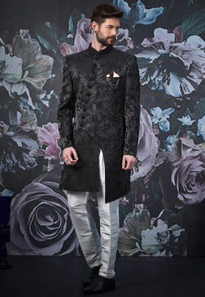 Woven Art Silk Jacquard Asymmetric Sherwani in Black