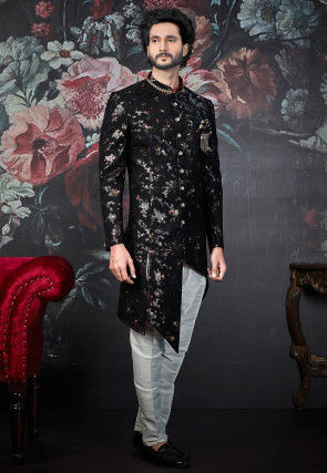 Woven Art Silk Jacquard Asymmetric Sherwani in Black