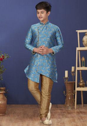 Woven Art Silk Jacquard Asymmetric Sherwani in Blue