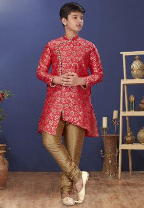 Woven Art Silk Jacquard Asymmetric Sherwani in Coral Pink