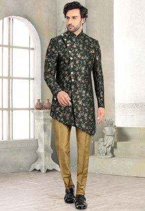 Woven Art Silk Jacquard Asymmetric Sherwani in Dark Green