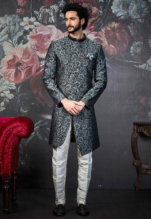 Woven Art Silk Jacquard Asymmetric Sherwani in Grey and Black