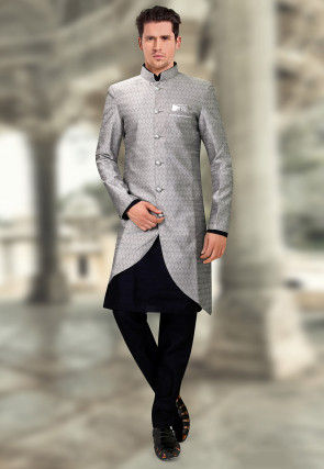 Woven Art Silk Jacquard Asymmetric Sherwani in Grey