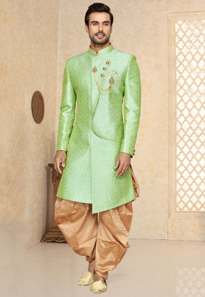 Woven Art Silk Jacquard Asymmetric Sherwani in Light Green