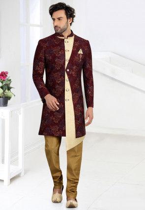 Woven Art Silk Jacquard Asymmetric Sherwani in Maroon