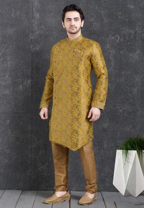 Woven Art Silk Jacquard Asymmetric Sherwani in Mustard