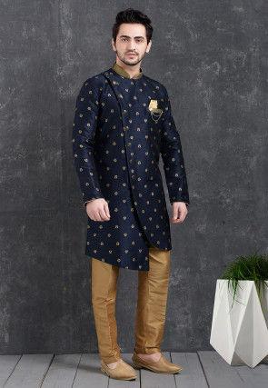 Woven Art Silk Jacquard Asymmetric Sherwani in Navy Blue