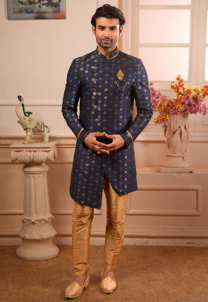 Woven Art Silk Jacquard Asymmetric Sherwani in Navy Blue