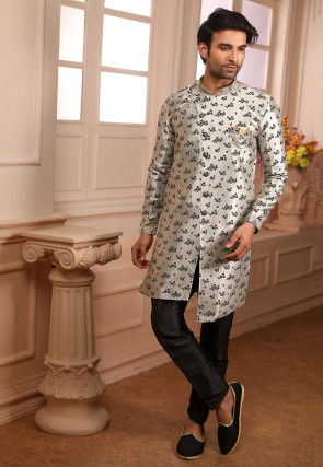 Woven Art Silk Jacquard Asymmetric Sherwani in Off White