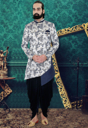 Woven Art Silk Jacquard Asymmetric Sherwani in Off White