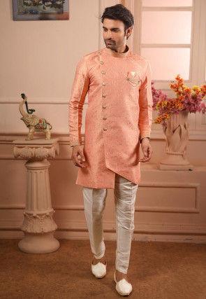 Woven Art Silk Jacquard Asymmetric Sherwani in Peach