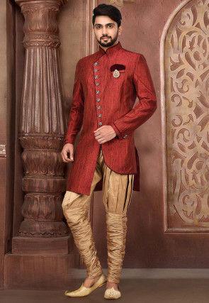 Woven Art Silk Jacquard Asymmetric Sherwani in Red