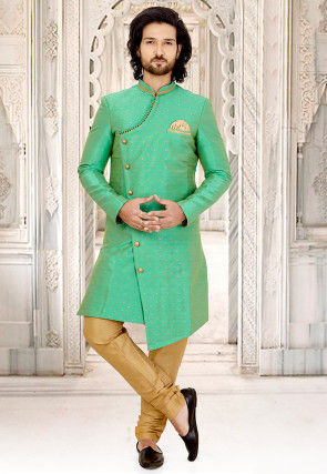 Woven Art Silk Jacquard Asymmetric Sherwani in Sea Green