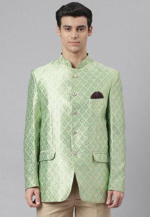 Woven Art Silk Jacquard Blazer in Pastel Green