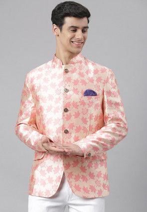Woven Art Silk Jacquard Blazer in Pink and Cream