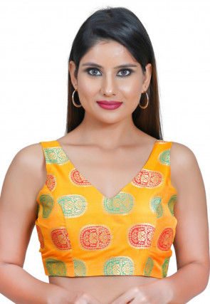 Woven Art Silk Jacquard Blouse in Mustard