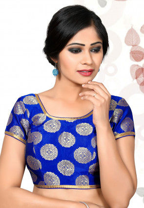 Woven Art Silk Jacquard Blouse in Royal Blue