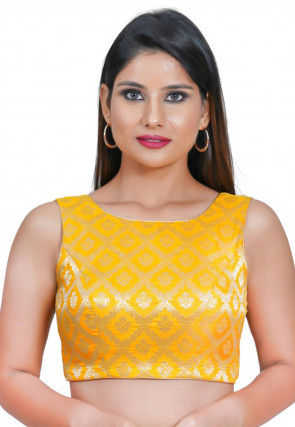 Woven Art Silk Jacquard Blouse in Yellow