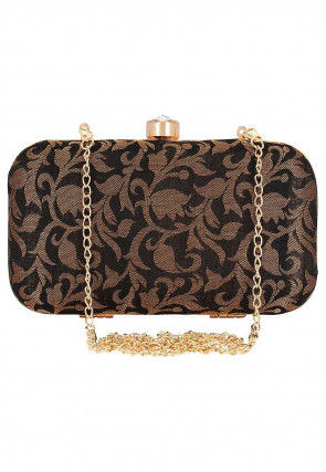 Woven Art Silk Jacquard Box Clutch Cum Sling in Black
