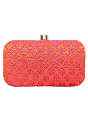 Woven Art Silk Jacquard Box Clutch in Coral Pink