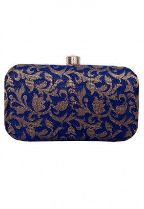 Woven Art Silk Jacquard Box Clutch in Dark Blue