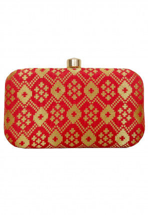 Woven Art Silk Jacquard Box Clutch in Red