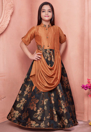 Woven Art Silk Jacquard Cowl Style Gown in Brown and Black