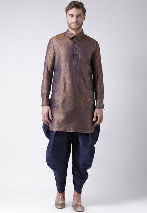 Woven Art Silk Jacquard Dhoti Kurta in Antique