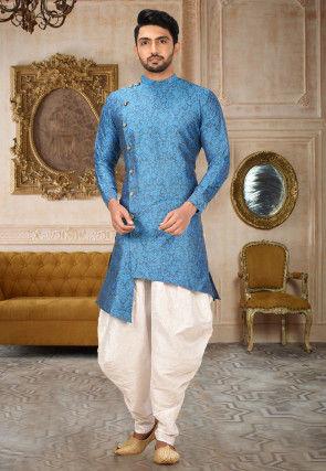 Woven Art Silk Jacquard Dhoti Kurta in Blue