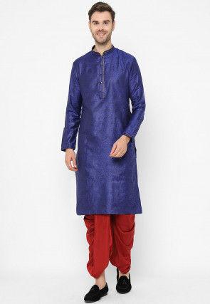 Woven Art Silk Jacquard Dhoti Kurta in Dark Blue