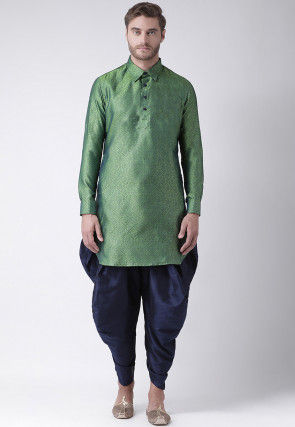 Woven Art Silk Jacquard Dhoti Kurta in Light Green
