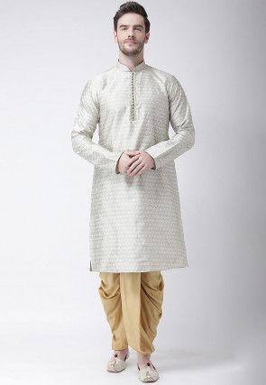 Woven Art Silk Jacquard Dhoti Kurta in Light Grey